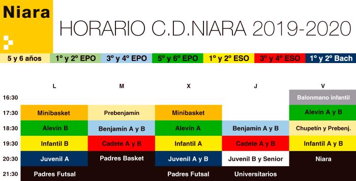 Horario Niara A4 2019.2020